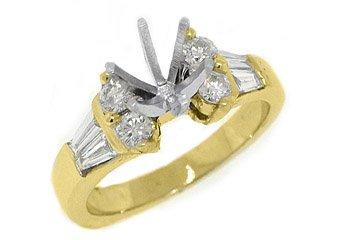 .89 CARATS WOMENS DIAMOND ENGAGEMENT RING SEMI-MOUNT BAGUETTE CUT YELLOW GOLD