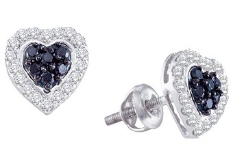 .33 CARAT BRILLIANT ROUND HEART SHAPE BLACK DIAMOND HALO STUD EARRING WHITE GOLD