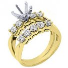 1.18 CARAT WOMENS DIAMOND ENGAGEMENT RING SEMI-MOUNT SET ROUND CUT YELLOW GOLD