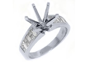 .82 CARAT WOMENS DIAMOND ENGAGEMENT RING SEMI-MOUNT PRINCESS CUT WHITE GOLD