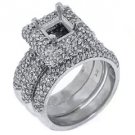 WOMENS DIAMOND ENGAGEMENT HALO RING SEMI-MOUNT BRIDAL SET SQUARE CUT WHITE GOLD