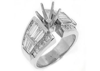2.83 CARAT WOMENS DIAMOND ENGAGEMENT RING SEMI-MOUNT BAGUETTE CUT WHITE GOLD