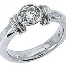 WOMENS SOLITAIRE BRILLIANT ROUND DIAMOND ENGAGEMENT RING BEZEL SET WHITE GOLD
