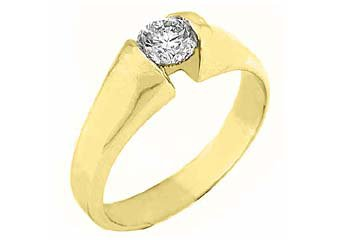 WOMENS SOLITAIRE BRILLIANT ROUND DIAMOND ENGAGEMENT RING TENSION SET YELLOW GOLD