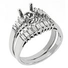 .70 CARAT WOMENS DIAMOND ENGAGEMENT RING SEMI-MOUNT SET BAGUETTE CUT WHITE GOLD