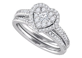 WOMENS DIAMOND ENGAGEMENT HALO RING WEDDING BAND BRIDAL SET .77CT HEART SHAPE