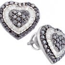 1.5 CARAT ROUND HEART SHAPE BLACK DIAMOND HALO STUD EARRINGS WHITE GOLD