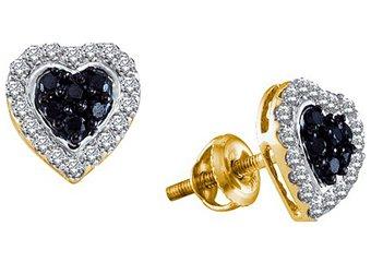 .33 CARAT ROUND HEART SHAPE BLACK DIAMOND HALO STUD EARRING YELLOW GOLD