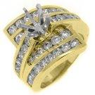 2.82 CARAT WOMENS DIAMOND ENGAGEMENT RING SEMI-MOUNT ROUND CUT YELLOW GOLD