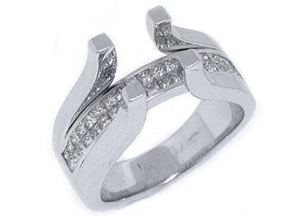 1 CARAT WOMENS DIAMOND ENGAGEMENT RING SEMI-MOUNT TENSION SET SQUARE WHITE GOLD