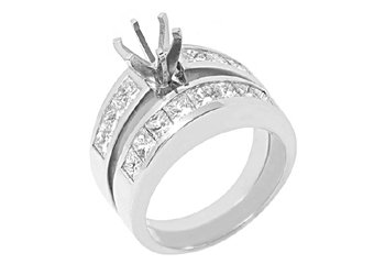2.5 CARAT WOMENS DIAMOND ENGAGEMENT RING SEMI-MOUNT SET PRINCESS CUT WHITE GOLD