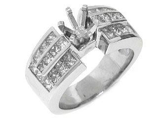 1.52 CARAT WOMENS DIAMOND ENGAGEMENT RING SEMI-MOUNT PRINCESS CUT WHITE GOLD