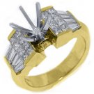 1.71 CARAT WOMENS DIAMOND ENGAGEMENT RING SEMI-MOUNT PRINCESS CUT YELLOW GOLD