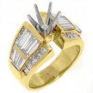 2.83 CARAT WOMENS DIAMOND ENGAGEMENT RING SEMI-MOUNT BAGUETTE CUT YELLOW GOLD