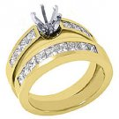 1.6 CARAT WOMENS DIAMOND ENGAGEMENT RING SEMI-MOUNT SET PRINCESS CUT YELLOW GOLD