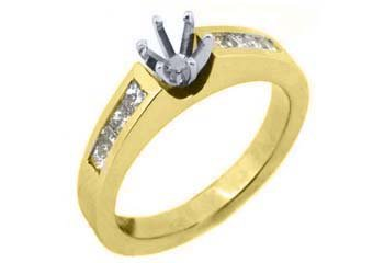 3/4 CARAT WOMENS DIAMOND ENGAGEMENT RING SEMI-MOUNT PRINCESS CUT YELLOW GOLD