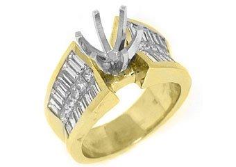 2.40 CARAT WOMENS DIAMOND ENGAGEMENT RING SEMI-MOUNT PRINCESS CUT YELLOW GOLD