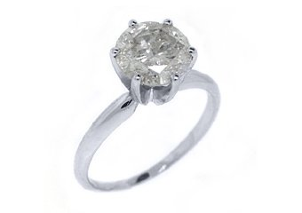 2 CARAT SOLITAIRE BRILLIANT ROUND DIAMOND ENGAGEMENT RING WHITE GOLD F COLOR