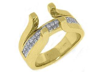 1 CARAT WOMENS DIAMOND ENGAGEMENT RING SEMI-MOUNT TENSION SET SQUARE YELLOW GOLD