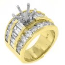 2.55 CARATS WOMENS DIAMOND ENGAGEMENT RING SEMI-MOUNT BAGUETTE CUT YELLOW GOLD