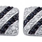 .27 CARAT SQUARE BRILLIANT ROUND CUT BLACK DIAMOND STUD EARRINGS WHITE GOLD