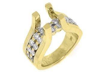 1.39CT WOMENS DIAMOND ENGAGEMENT RING SEMI-MOUNT TENSION SET ROUND YELLOW GOLD