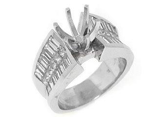 2.4 CARAT WOMENS DIAMOND ENGAGEMENT RING SEMI-MOUNT PRINCESS CUT WHITE GOLD