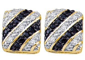 .27 CARAT SQUARE BRILLIANT ROUND CUT BLACK DIAMOND STUD EARRINGS YELLOW GOLD