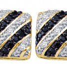 .27 CARAT SQUARE BRILLIANT ROUND CUT BLACK DIAMOND STUD EARRINGS YELLOW GOLD