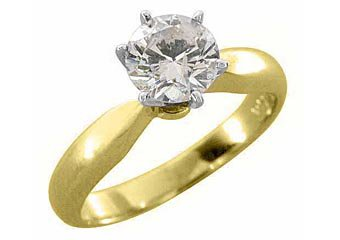 2 CARAT SOLITAIRE BRILLIANT ROUND DIAMOND ENGAGEMENT RING YELLOW GOLD EYE CLEAN