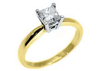 1/2 CARAT SOLITAIRE PRINCESS SQUARE CUT DIAMOND WEDDING RING YELLOW GOLD