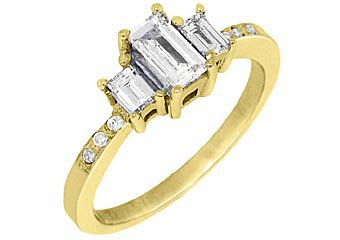4/5CT WOMENS 3-STONE PAST PRESENT FUTURE DIAMOND RING EMERALD CUT YELLOW GOLD