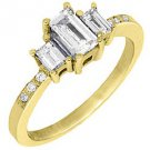 4/5CT WOMENS 3-STONE PAST PRESENT FUTURE DIAMOND RING EMERALD CUT YELLOW GOLD