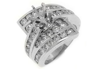 2.82 CARAT WOMENS DIAMOND ENGAGEMENT RING SEMI-MOUNT ROUND CUT WHITE GOLD