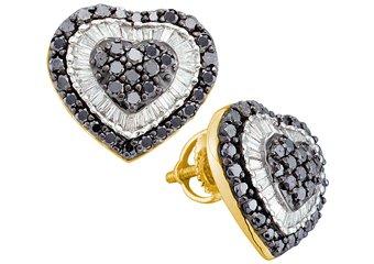 1.5 CARAT ROUND HEART SHAPE BLACK DIAMOND HALO STUD EARRINGS YELLOW GOLD