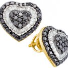 1.5 CARAT ROUND HEART SHAPE BLACK DIAMOND HALO STUD EARRINGS YELLOW GOLD