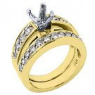 1.12 CARAT WOMENS DIAMOND ENGAGEMENT RING SEMI-MOUNT SET ROUND CUT YELLOW GOLD