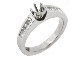 3/4 CARAT WOMENS DIAMOND ENGAGEMENT RING SEMI-MOUNT PRINCESS CUT WHITE GOLD