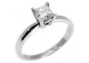 1.10CT WOMENS SOLITAIRE PRINCESS SQUARE CUT DIAMOND ENGAGEMENT RING WHITE GOLD