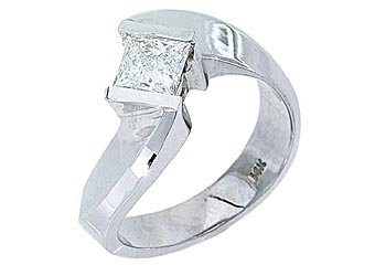 1CT WOMENS SOLITAIRE SQUARE CUT DIAMOND ENGAGEMENT RING TENSION SET WHITE GOLD