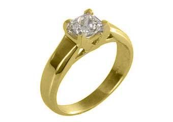 3/4CT WOMENS SOLITAIRE PRINCESS SQUARE CUT DIAMOND ENGAGEMENT RING YELLOW GOLD