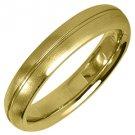 MENS WEDDING BAND ENGAGEMENT RING YELLOW GOLD SATIN FINISH 4mm