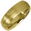 MENS WEDDING BAND ENGAGEMENT RING YELLOW GOLD SATIN FINISH 6mm