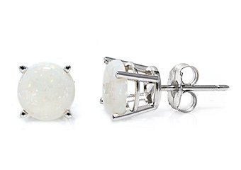 1.60 CARAT OPAL STUD EARRINGS 7mm ROUND 14KT WHITE GOLD OCTOBER BIRTH STONE