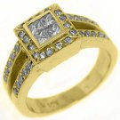 .80CT WOMENS DIAMOND HALO ENGAGEMENT WEDDING RING PRINCESS CUT YELLOW GOLD
