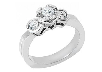 1.25 CARAT WOMENS 3-STONE PAST PRESENT FUTURE DIAMOND RING ROUND CUT WHITE GOLD