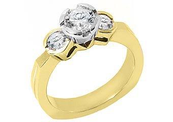 1.25 CARAT WOMENS 3-STONE PAST PRESENT FUTURE DIAMOND RING ROUND CUT YELLOW GOLD