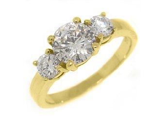 1.81 CARAT WOMENS 3-STONE PAST PRESENT FUTURE DIAMOND RING ROUND CUT YELLOW GOLD