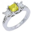 1.63 CARAT WOMENS 3-STONE FANCY YELLOW DIAMOND RING PRINCESS WHITE GOLD