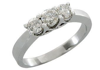 3/4 CARAT WOMENS 3-STONE PAST PRESENT FUTURE DIAMOND RING ROUND CUT WHITE GOLD